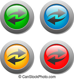 Arrow icon set on glass buttons