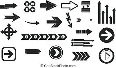Arrow icon set, simple style