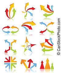 Icon of an arrow of different kinds. A vector illustration