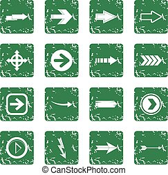 Arrow icons set grunge
