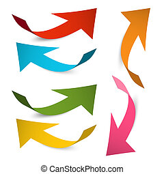 Arrow Icons. Vector Colorful Paper Bent Arrows Set Isolated on White Background.
