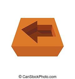Arrow in cardboard box icon