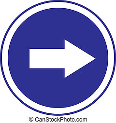 arrow in circle blue sign