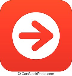 Arrow in circle icon digital red