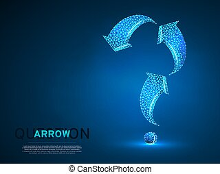 Arrow in form of a question mark. Three arrow goes up and down wireframe digital 3d illustration. Low poly abstract FAQ concept with lines, dots on blue background. Vector neon polygonal RGB color