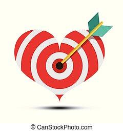 Arrow in Heart Shaped Dart Board. Vector Bullseye Love Symbol.