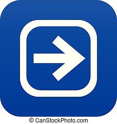 Arrow in square icon digital blue