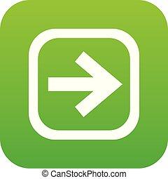 Arrow in square icon digital green