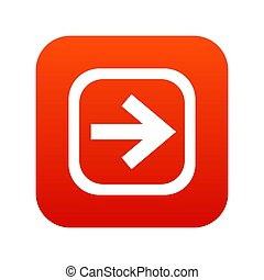 Arrow in square icon digital red