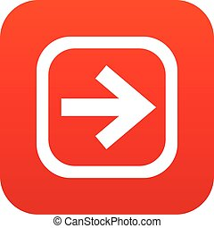 Arrow in square icon digital red