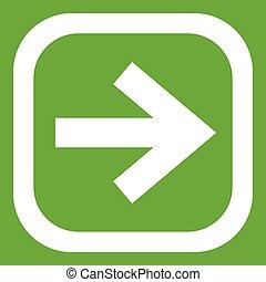 Arrow in square icon green