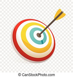 Arrow in target icon, cartoon style
