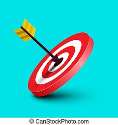 Arrow in Target. Vector Dart in Red Bullseye Illustration on Blue Background. Dartboard Symbol. Marketing Success Icon.