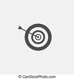 Arrow in the target icon in a flat design in black color. Vector illustration eps10