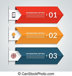Arrow infographic options banner. Vector template with 3 steps