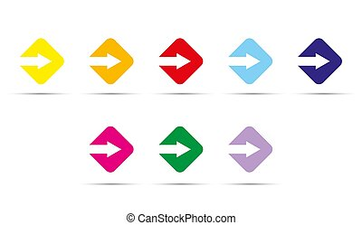 arrow is cut from a Square. Color set of elements.