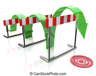 Arrow jumping over hurdles in the design of access to...