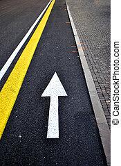 arrow lane - white arrow lane asphalt road