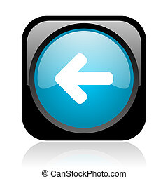 arrow left black and blue square web glossy icon