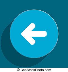 arrow left blue flat web icon