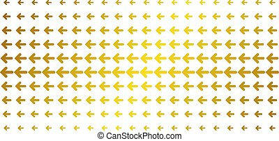 Arrow left icon golden halftone pattern. Vector arrow left shapes are organized into halftone grid with inclined gold gradient. Designed for backgrounds, covers, templates and abstract concepts.