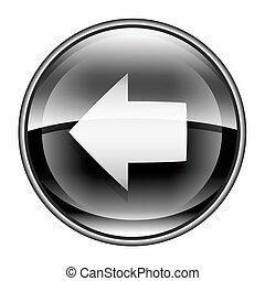 Arrow left icon black, isolated on white background.