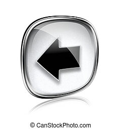 Arrow left icon grey glass, isolated on white background.