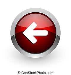 arrow left red circle web glossy icon
