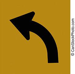 Arrow, Left Turn, Traffic Sign