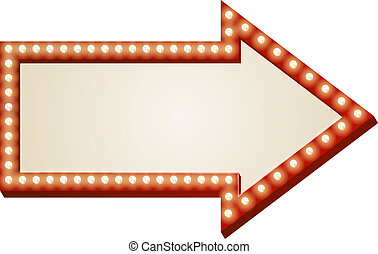 Arrow lights sign - Illustration of red arrow sign with copy...