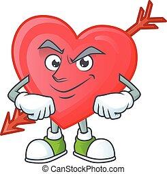 Arrow love mascot cartoon character style with Smirking face