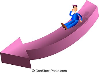 Arrow Man - business man sliding down a giant arrow