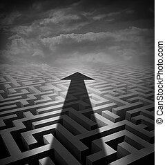 Arrow Maze - Arrow maze business concept as a cast shadow...
