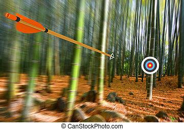 Arrow moving through air to target