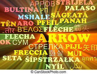 Arrow multilanguage wordcloud background concept glowing