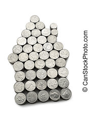 Arrow of coins on white background