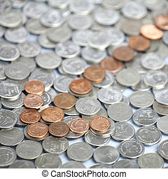Arrow of coins. The The concept financial decline