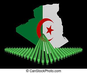 Arrow of people with Algeria map flag illustration