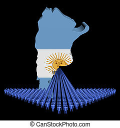 Arrow of people with Argentina map flag illustration