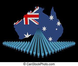 Arrow of people with Australia map flag illustration