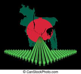 Arrow of people with Bangladesh map flag illustration