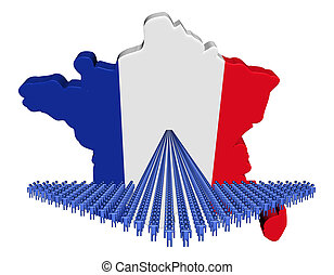 Arrow of people with France map flag illustration