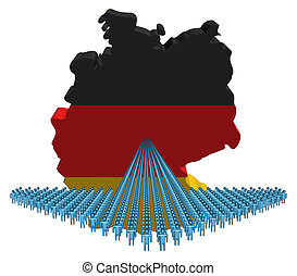 Arrow of people with Germany map flag illustration