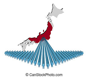 Arrow of people with Japan map flag illustration