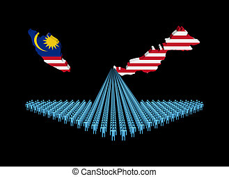 Arrow of people with Malaysia map flag illustration
