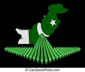 Arrow of people with Pakistan map flag illustration