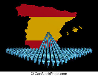 Arrow of people with Spain map flag illustration