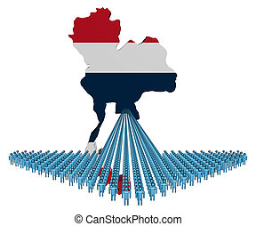Arrow of people with Thailand map flag illustration