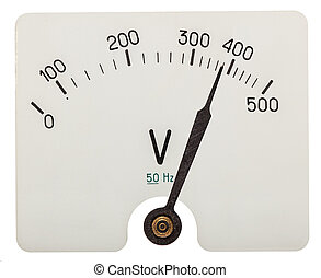 Arrow of voltmeter indicating an 380 volts, isolated on ...