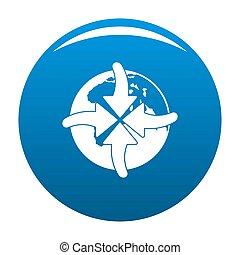 Arrow of world icon blue